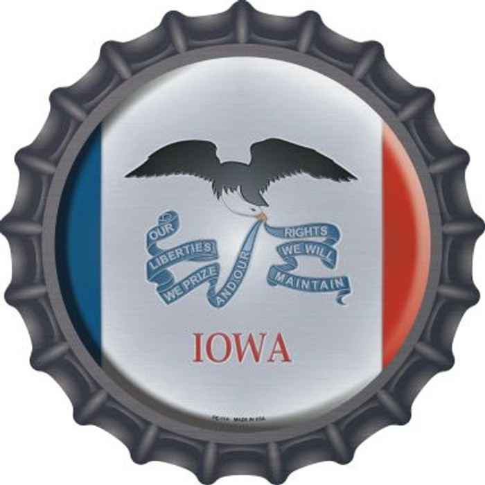 Iowa State Flag Novelty Metal Bottle Cap BC-114