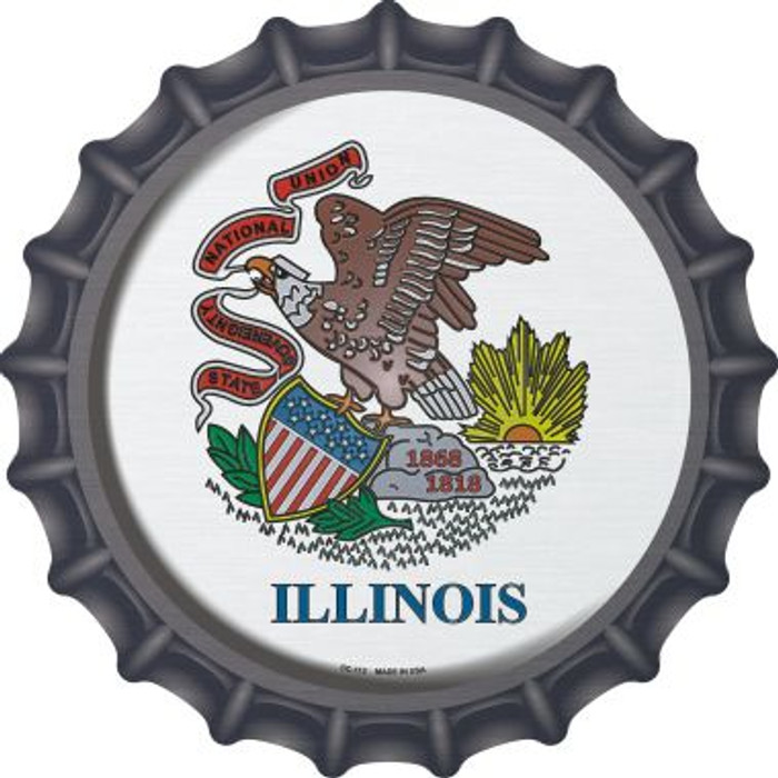 Illinois State Flag Novelty Metal Bottle Cap BC-112