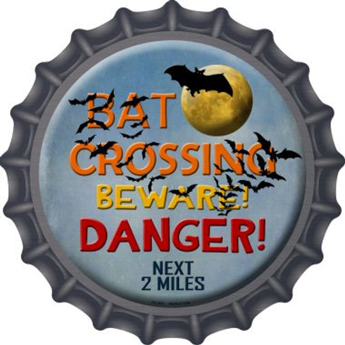 Bat Crossing Novelty Metal Bottle Cap BC-501