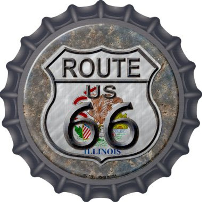 Illinois Route 66 Novelty Metal Bottle Cap BC-519