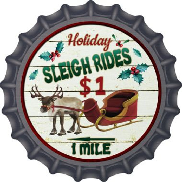 Sleigh Rides Novelty Metal Bottle Cap BC-588