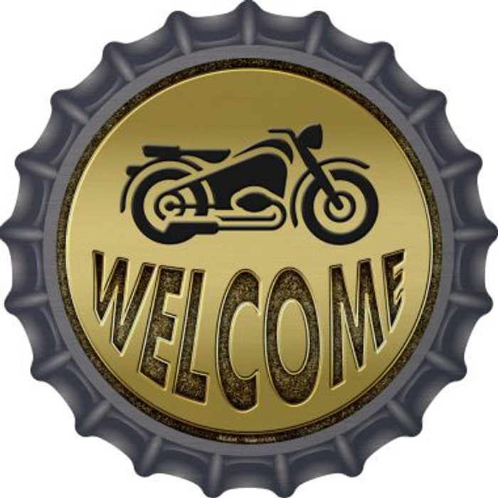 Welcome With Motorcycle Novelty Metal Bottle Cap BC-634