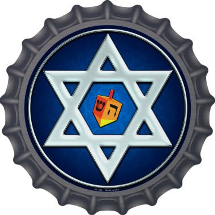 Hanukkah Star And Dreidel Novelty Metal Bottle Cap BC-725