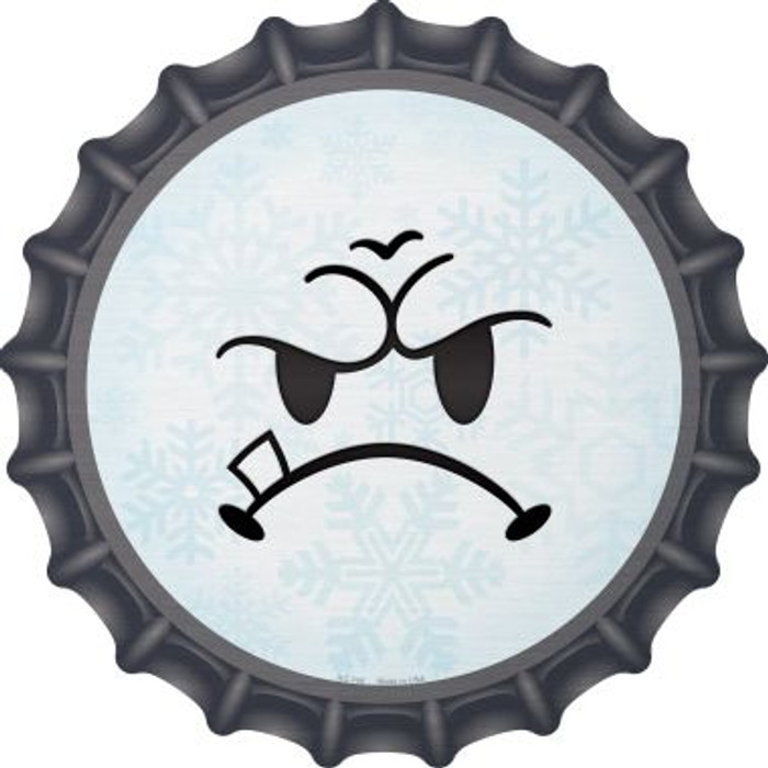 Mean Face Snowflake Novelty Metal Bottle Cap BC-744