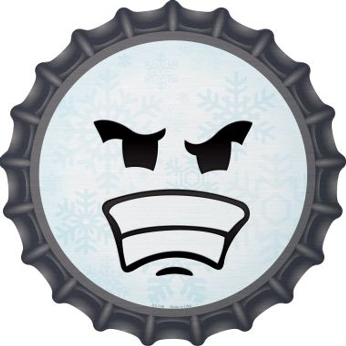 Angry Face Snowflake Novelty Metal Bottle Cap BC-746
