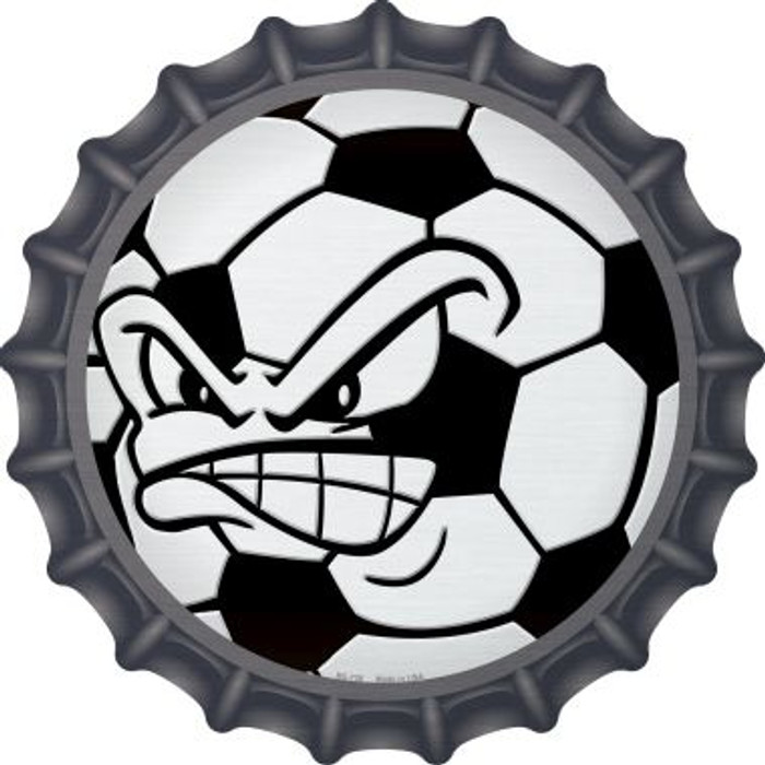 Angry Soccer Ball Novelty Metal Bottle Cap BC-738