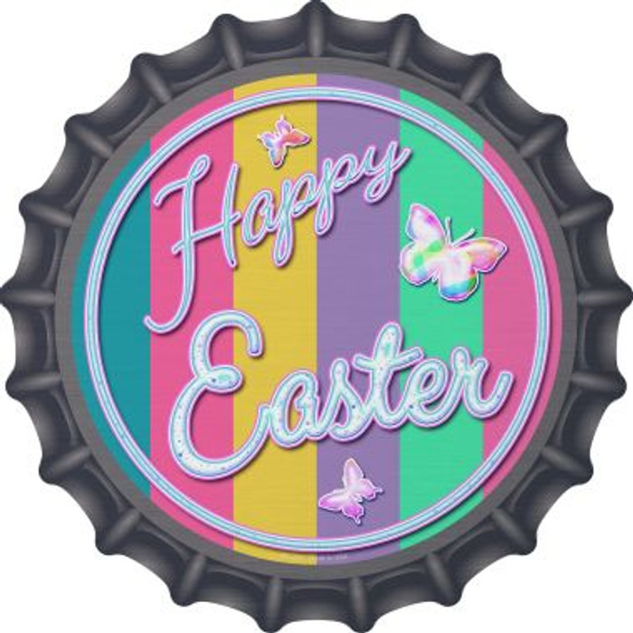 Happy Easter with Butterflies Novelty Metal Bottle Cap BC-831