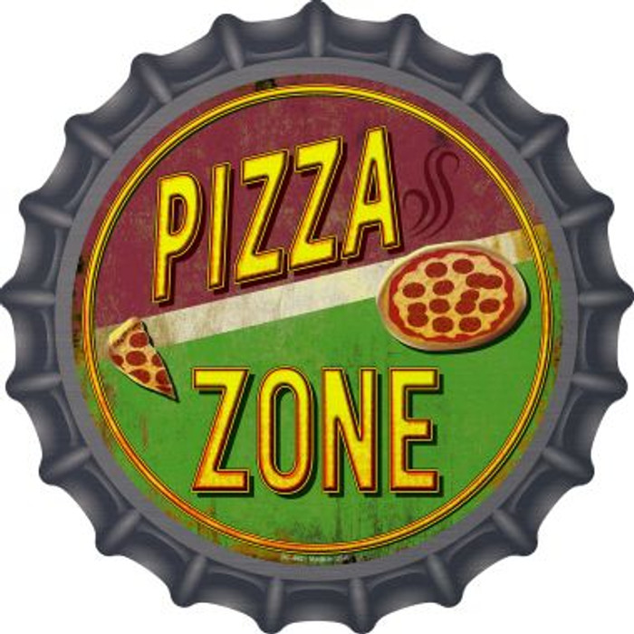 Pizza Zone Novelty Metal Bottle Cap BC-842