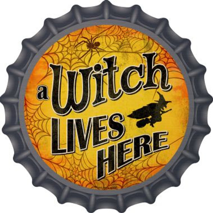 A Witch Lives Here Novelty Metal Bottle Cap BC-853
