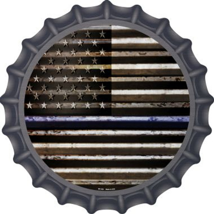 American Flag Thin Blue Line Novelty Metal Bottle Cap BC-893