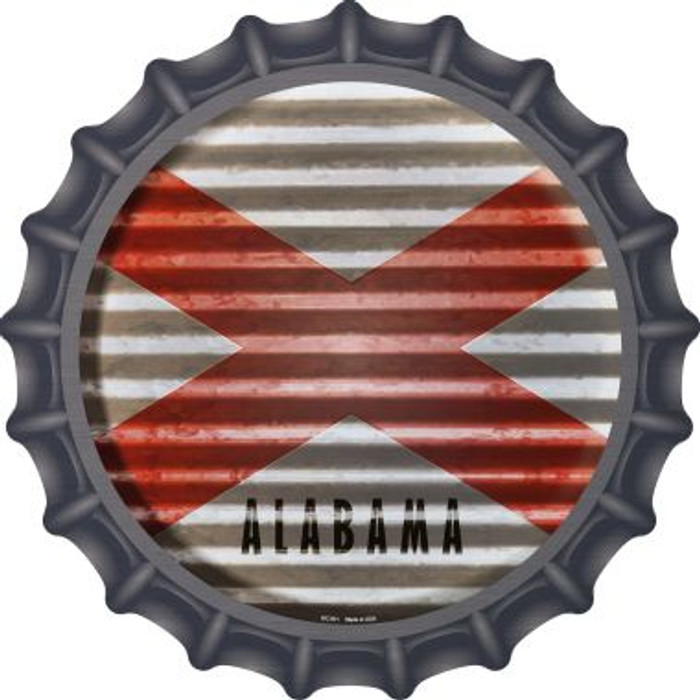Alabama Flag Corrugated Effect Novelty Metal Bottle Cap BC-911