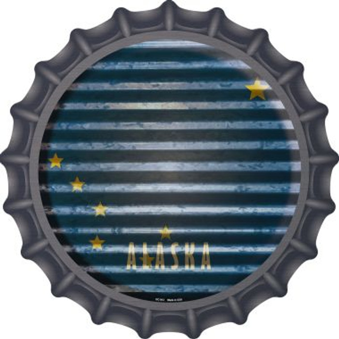 Alaska Flag Corrugated Effect Novelty Metal Bottle Cap BC-912