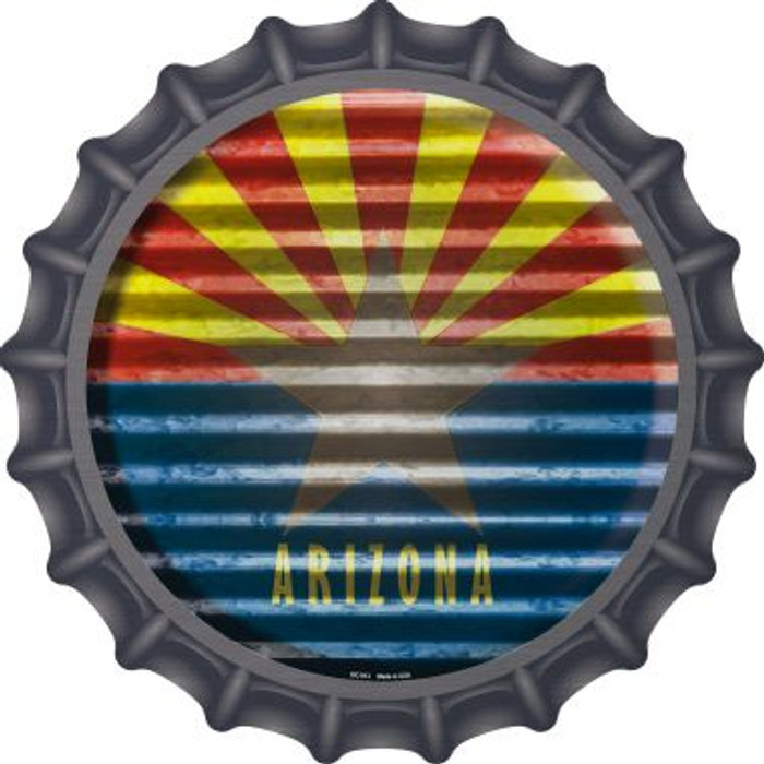 Arizona Flag Corrugated Effect Novelty Metal Bottle Cap BC-913