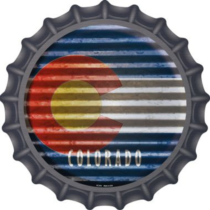 Colorado Flag Corrugated Effect Novelty Metal Bottle Cap BC-916