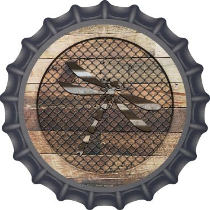 Corrugated Dragonfly on Wood Novelty Metal Bottle Cap BC-1032