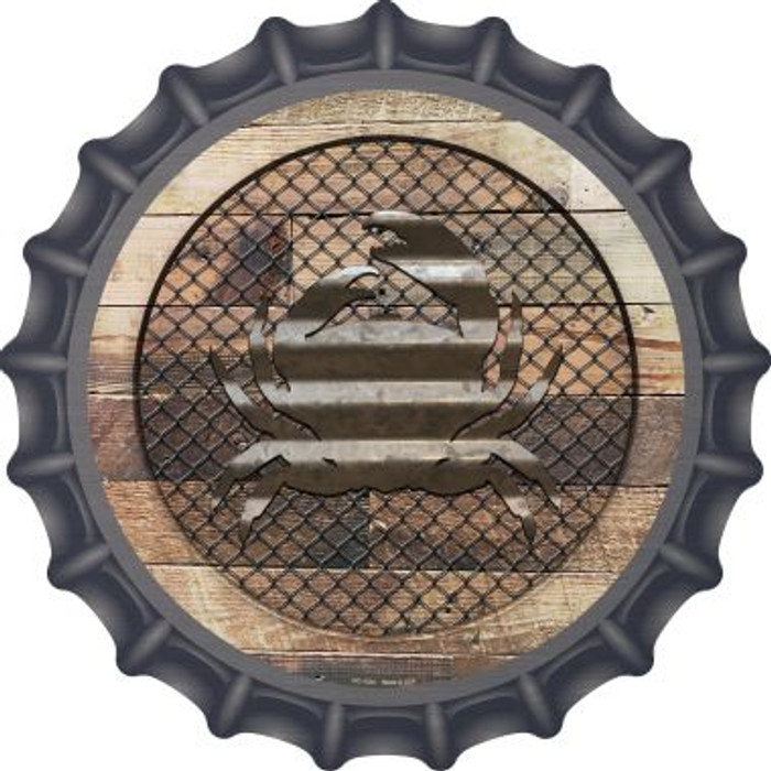 Corrugated Crab on Wood Novelty Metal Bottle Cap BC-1034