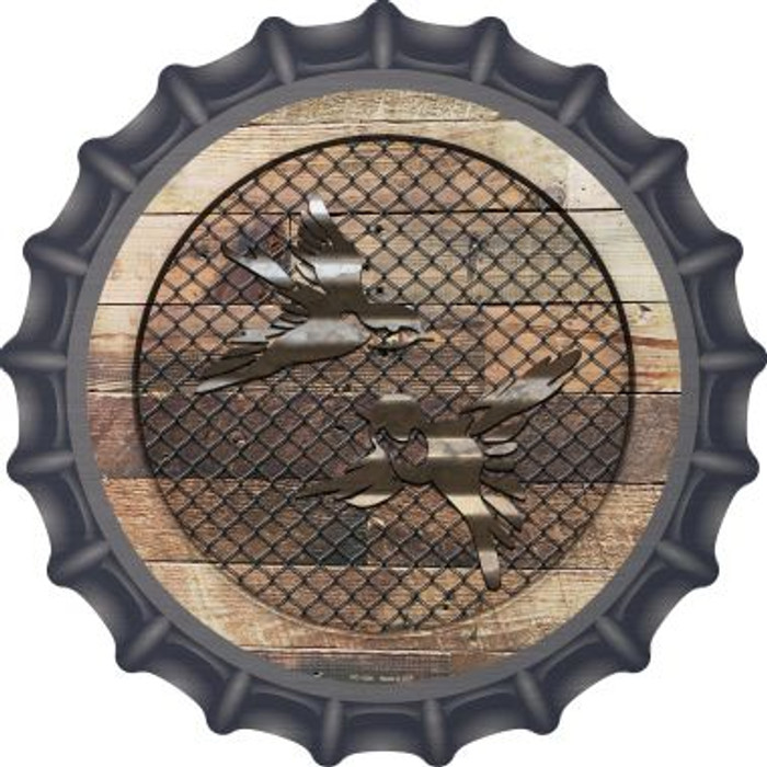 Corrugated Little Birds on Wood Novelty Metal Bottle Cap BC-1036