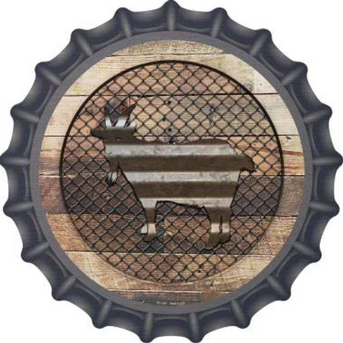 Corrugated Goat on Wood Novelty Metal Bottle Cap BC-1047