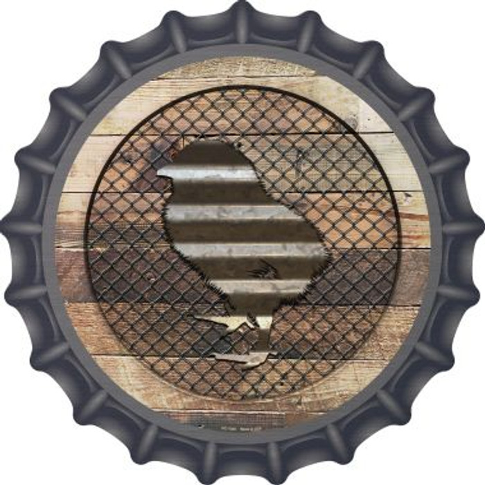 Corrugated Chick on Wood Novelty Metal Bottle Cap BC-1048
