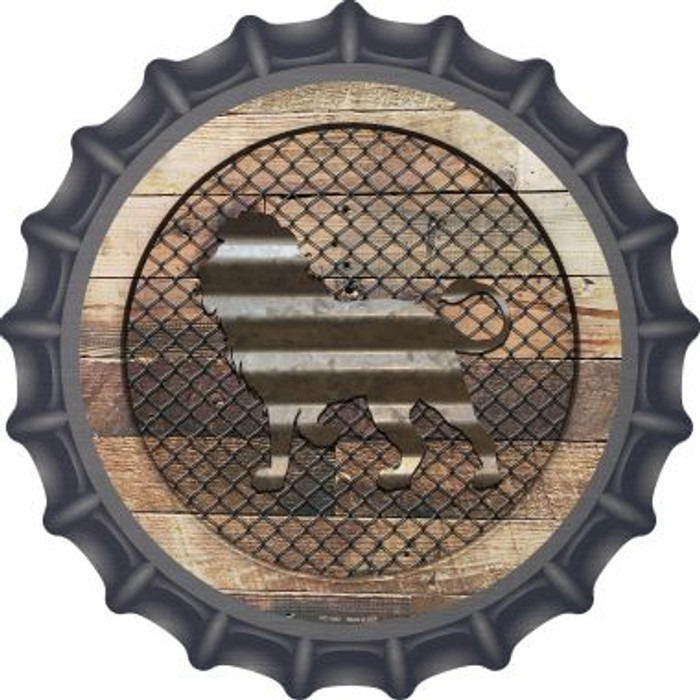 Corrugated Lion on Wood Novelty Metal Bottle Cap BC-1052