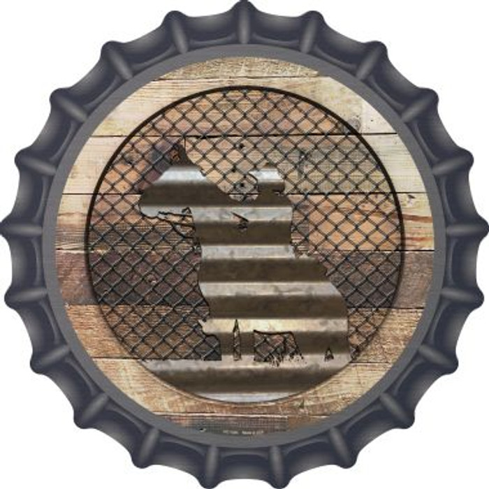 Corrugated Cowboy on Wood Novelty Metal Bottle Cap BC-1055