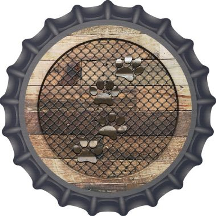 Corrugated Dog Paws on Wood Novelty Metal Bottle Cap BC-1060