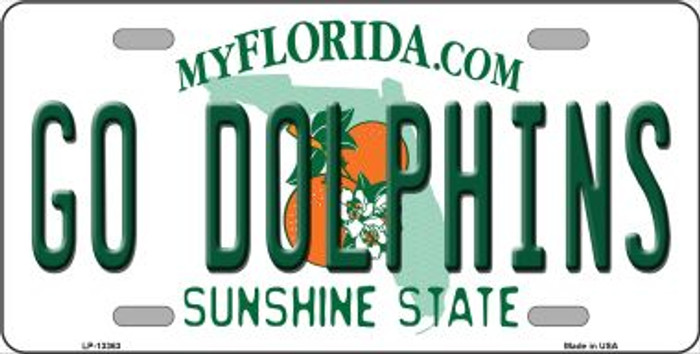 Go Dolphins Novelty Metal License Plate Tag LP-13363