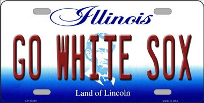 Go White Sox Novelty Metal License Plate Tag LP-13389