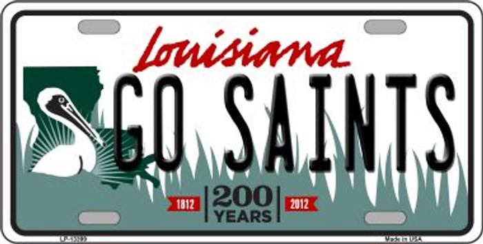 Go Saints Novelty Metal License Plate Tag LP-13399