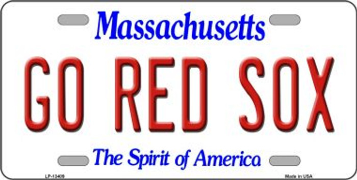 Go Red Sox Novelty Metal License Plate Tag LP-13409