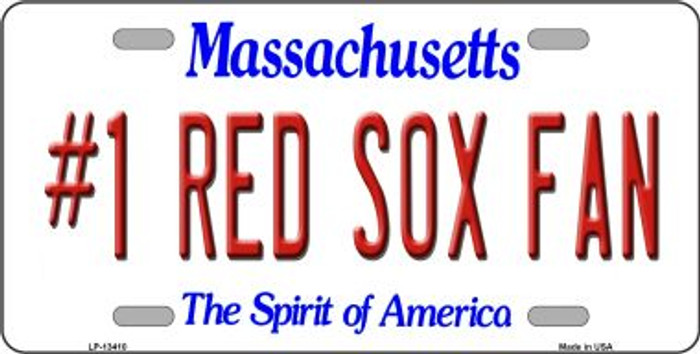 Number 1 Red Sox Fan Novelty Metal License Plate Tag LP-13410