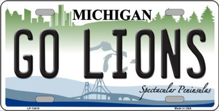 Go Lions Novelty Metal License Plate Tag LP-13415