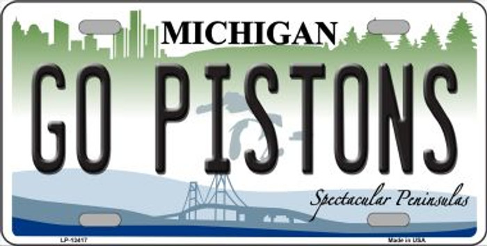 Go Pistons Novelty Metal License Plate Tag LP-134117