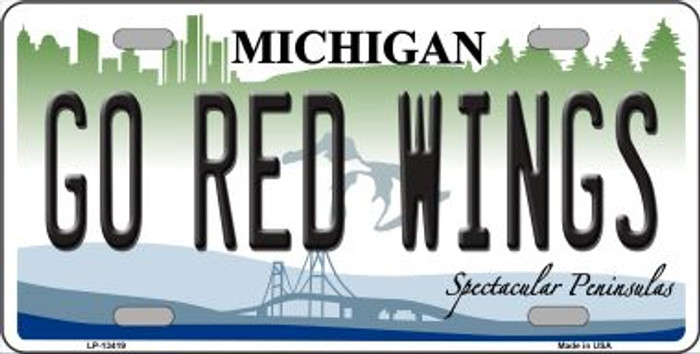 Go Red Wings Novelty Metal License Plate Tag LP-13419