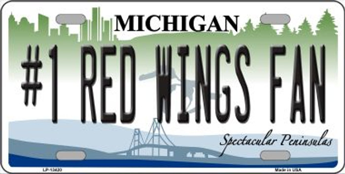 Number 1 Red Wings Fan Novelty Metal License Plate Tag LP-13420