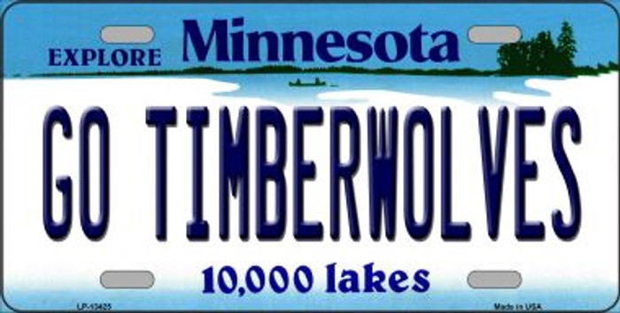 Go Timberwolves Novelty Metal License Plate Tag LP-13425