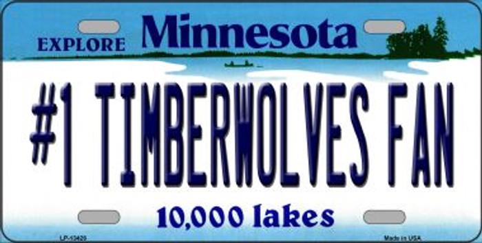 Number 1 Timberwolves Fan Novelty Metal License Plate Tag LP-13426