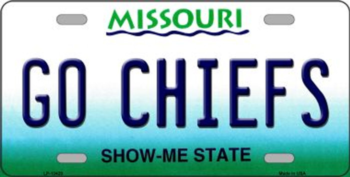 Go Chiefs Novelty Metal License Plate Tag LP-13429