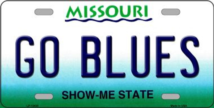 Go Blues Novelty Metal License Plate Tag LP-13435