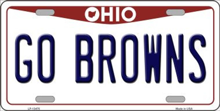Go Browns Novelty Metal License Plate Tag LP-13475