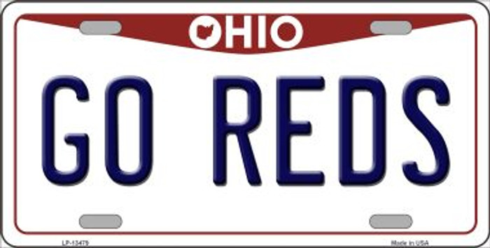 Go Reds Novelty Metal License Plate Tag LP-13479