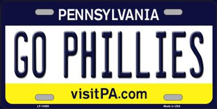 Go Phillies Novelty Metal License Plate Tag LP-13493