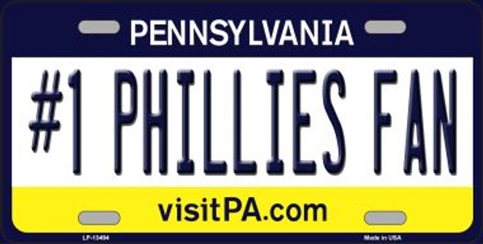 Number 1 Phillies Fan Novelty Metal License Plate Tag LP-13494