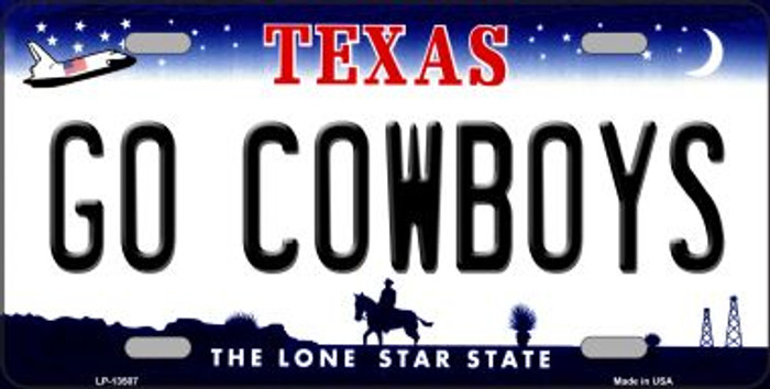 Go Cowboys Novelty Metal License Plate Tag LP-13507