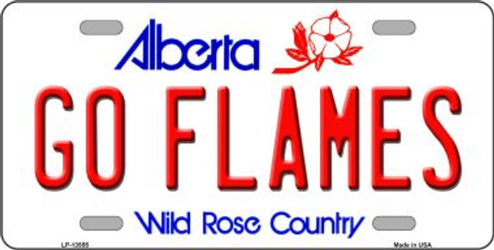 Go Flames Novelty Metal License Plate Tag LP-13555