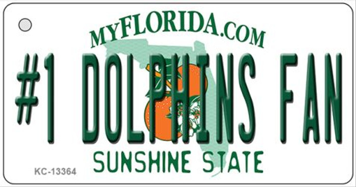 Number 1 Dolphins Fan Novelty Metal Key Chain KC-13364