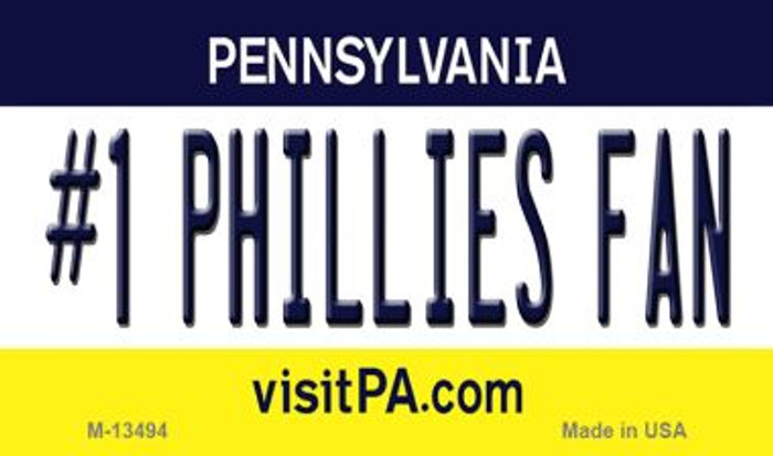 Number 1 Phillies Fan Novelty Metal Magnet M-13494