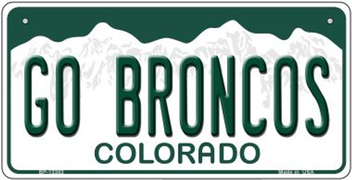 Go Broncos Novelty Metal Bicycle Plate BP-13353