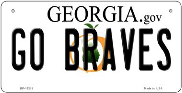 Go Braves Novelty Metal Bicycle Plate BP-13381