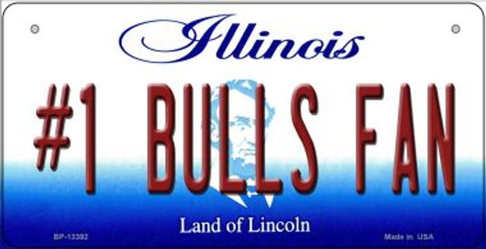 Number 1 Bulls Fan Novelty Metal Bicycle Plate BP-13392